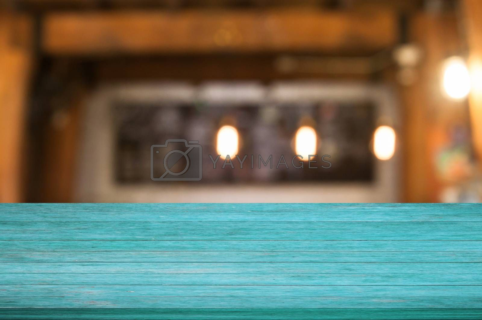 Royalty free image of Top of blue wooden table with coffee shop by punsayaporn
