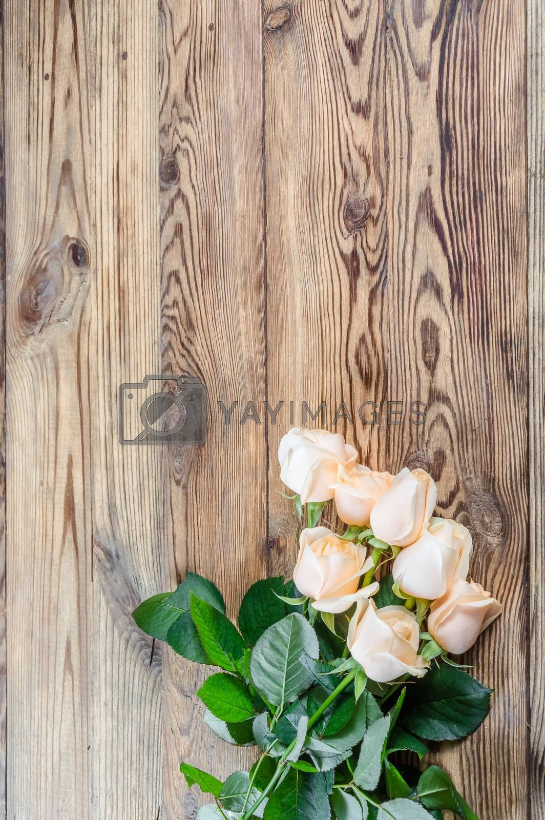 Roses on rustic wooden table
