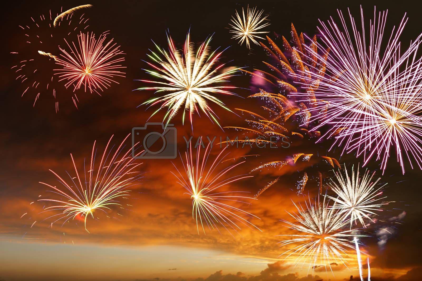 Majestic fireworks in evening sky