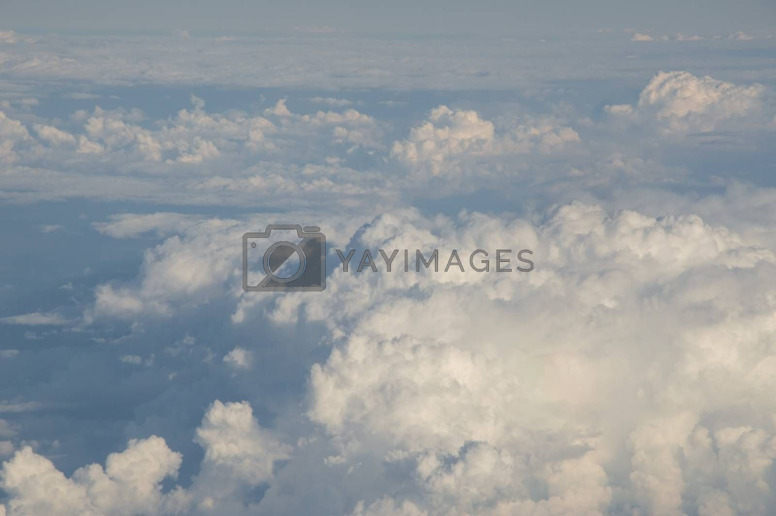 View of the clouds from above, during a flight
