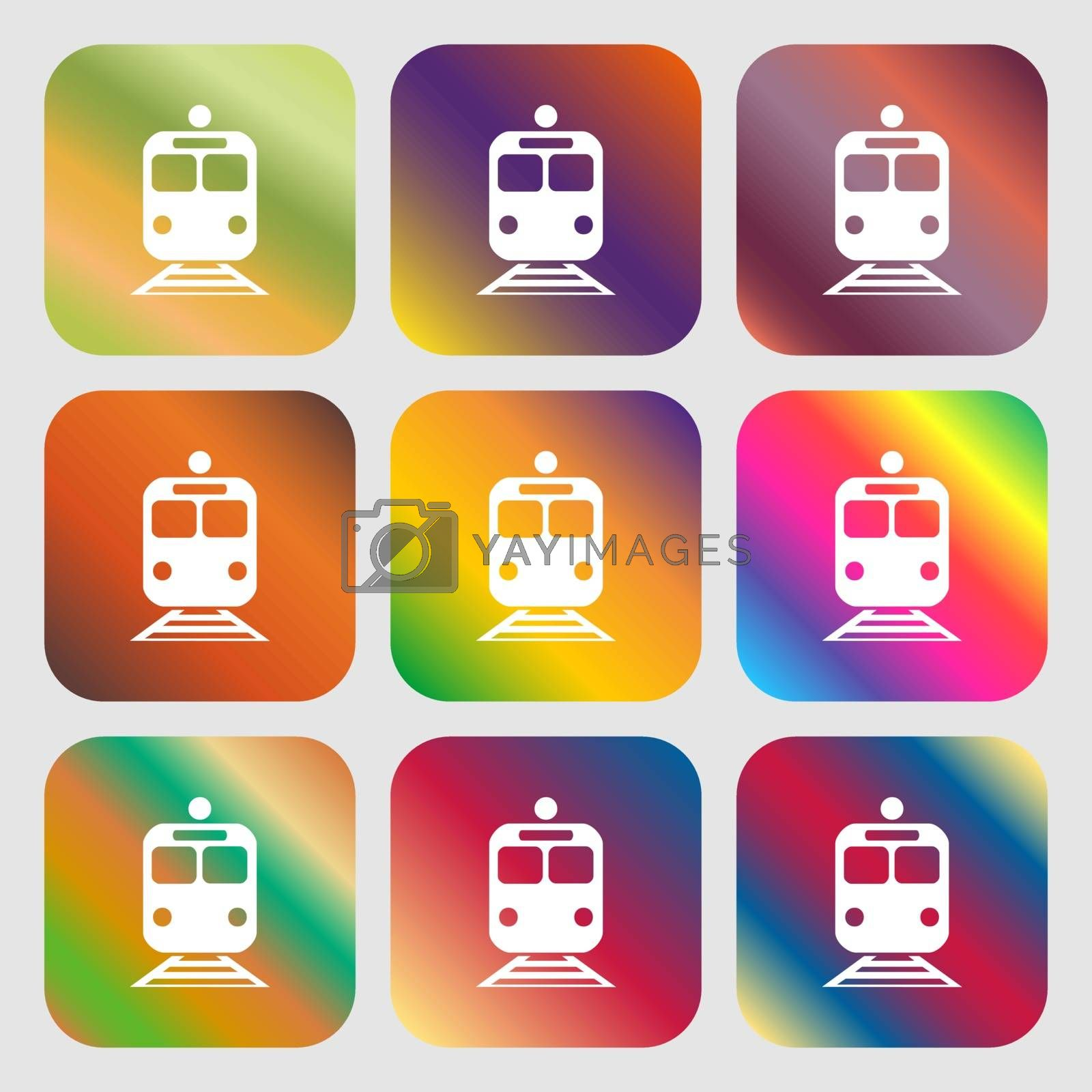 train icon. Nine buttons with bright gradients for beautiful design. Vector illustration