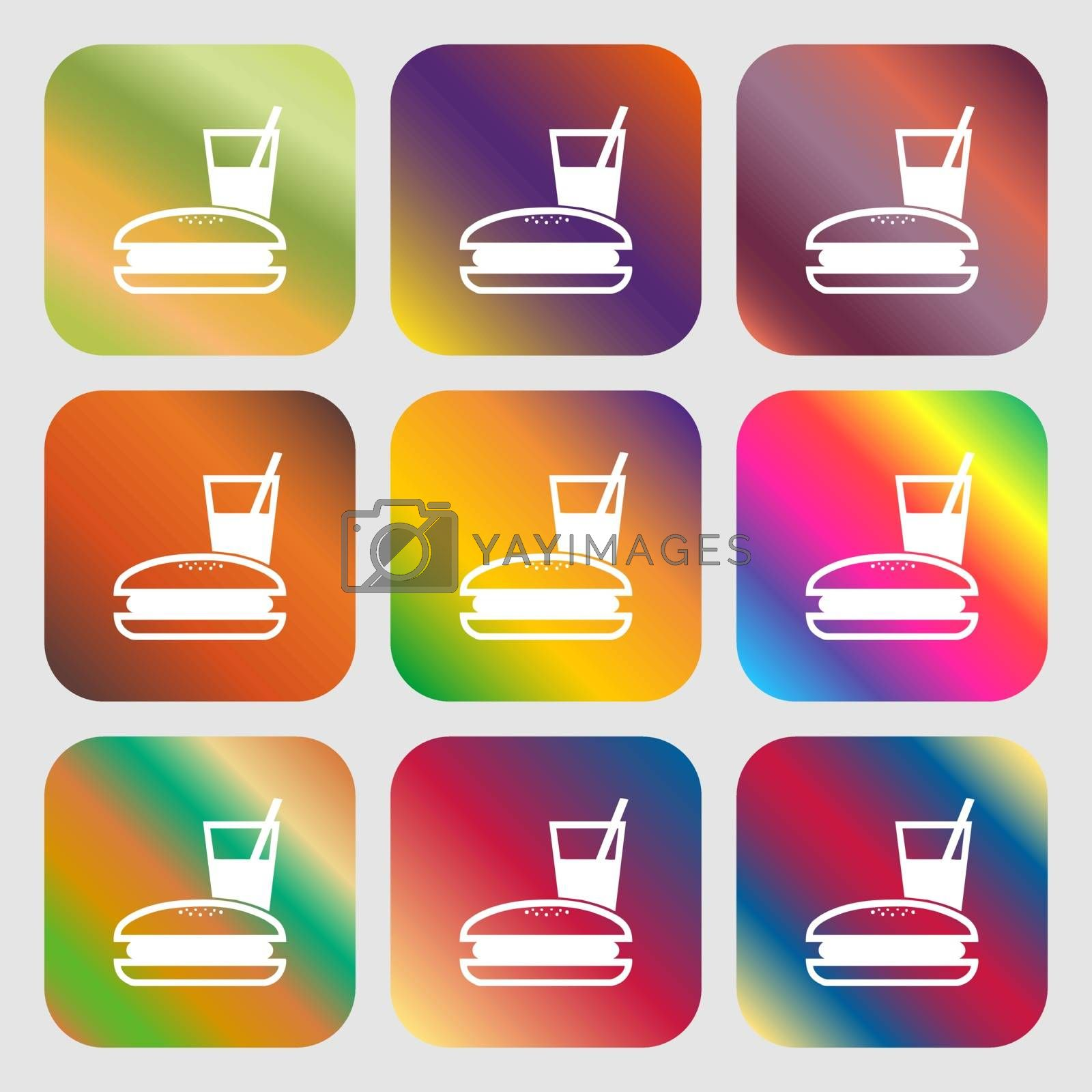 lunch box icon. Nine buttons with bright gradients for beautiful design. Vector illustration