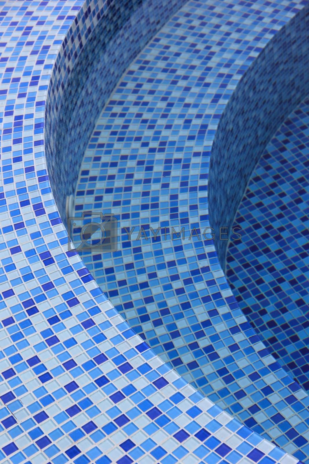 Curved steps at the swimming pool by liewluck