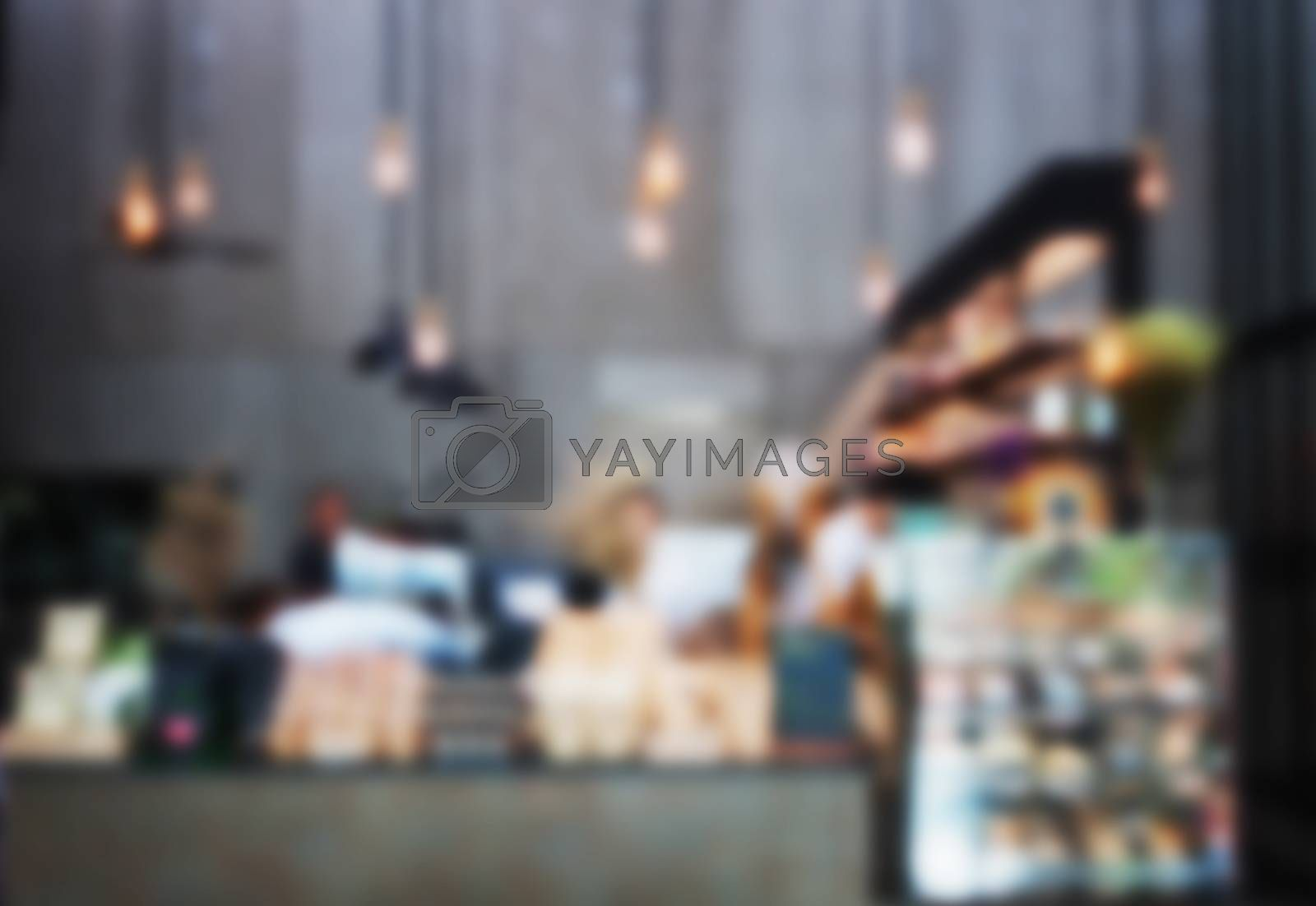 Blurred background in coffee shop, stock photo