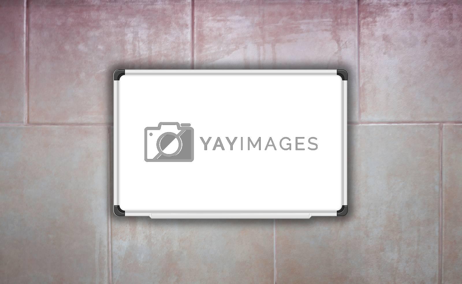 Blank white baord on ceramic tiles wall texture background, stock photo