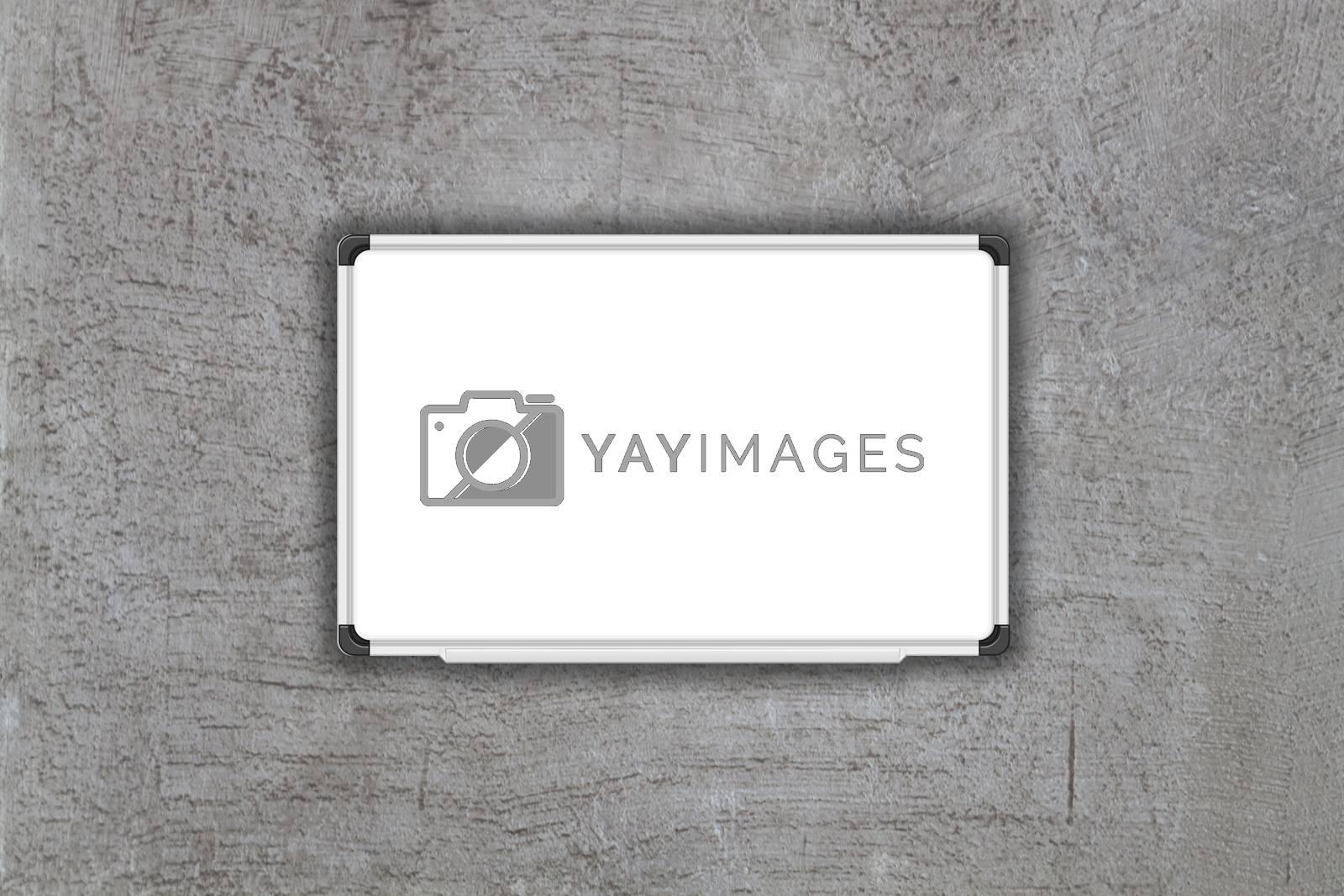 Blank white baord on gray concrete texture background, stock photo