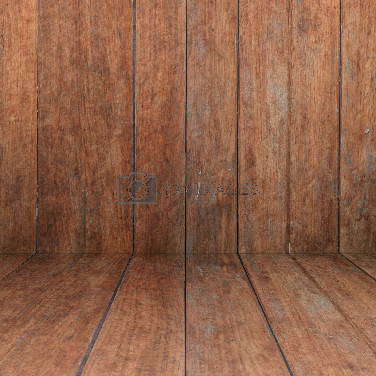 Perspective floor with wood panel background, stock photo