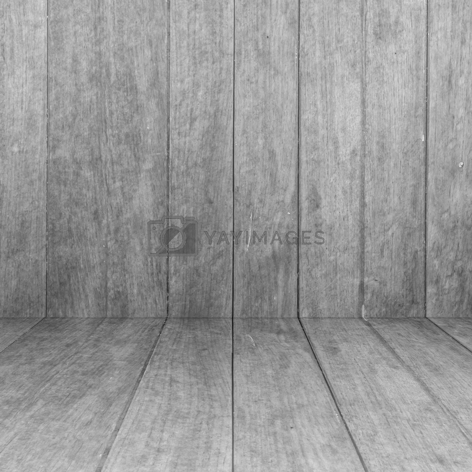 Perspective white wooden floor with wood panel background, stock photo