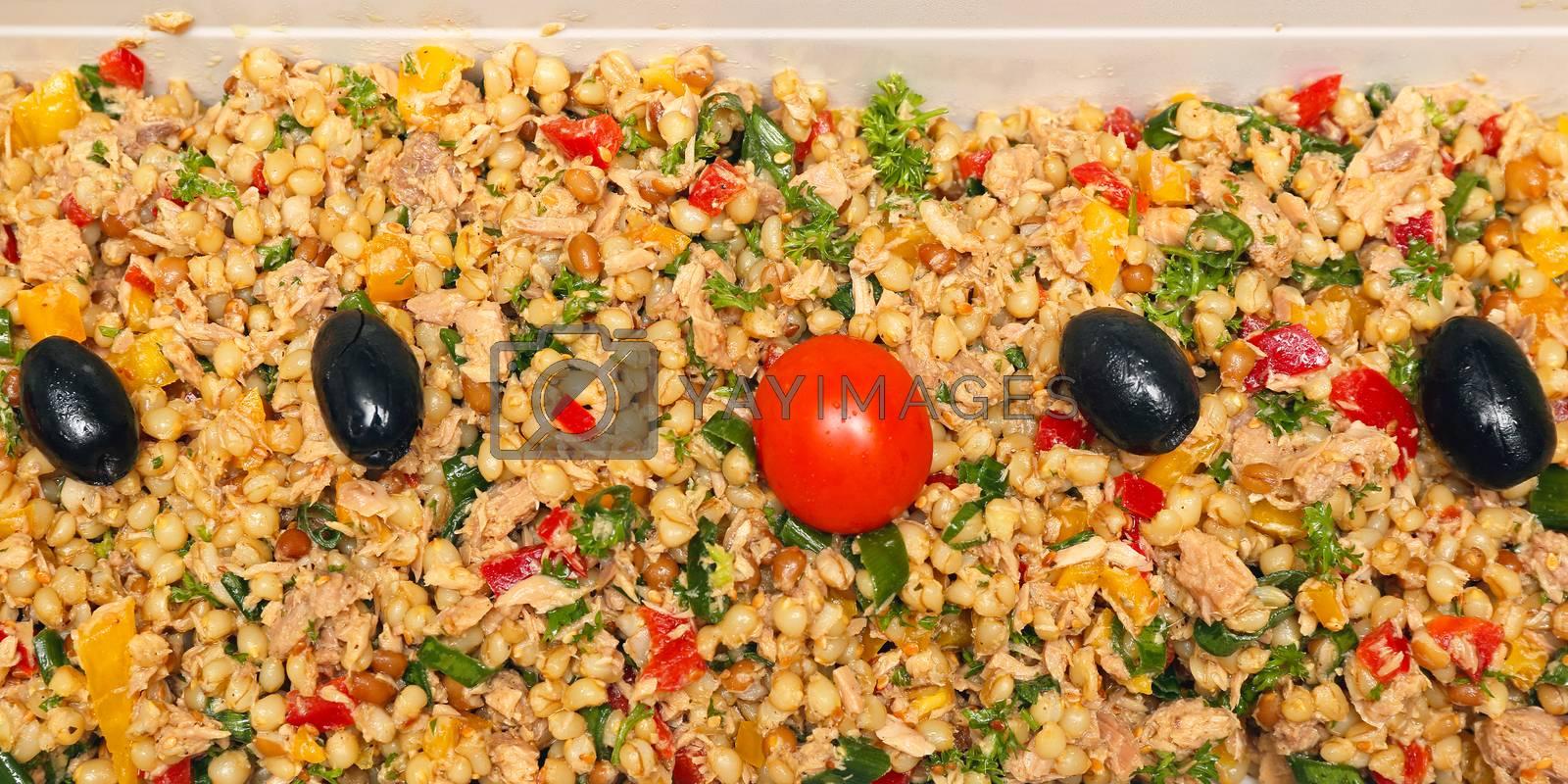 Spelt Wheat Grains With Tuna Salad Meal