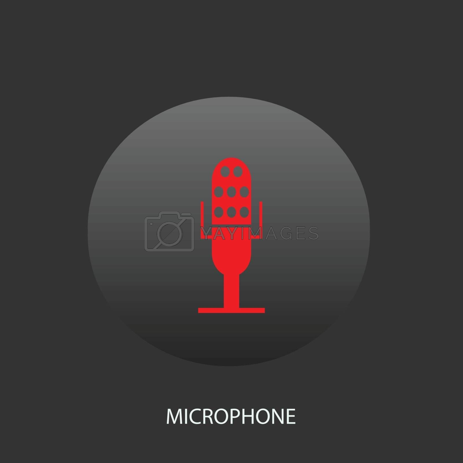 Illustration on which the microphone icon against a dark background is represented