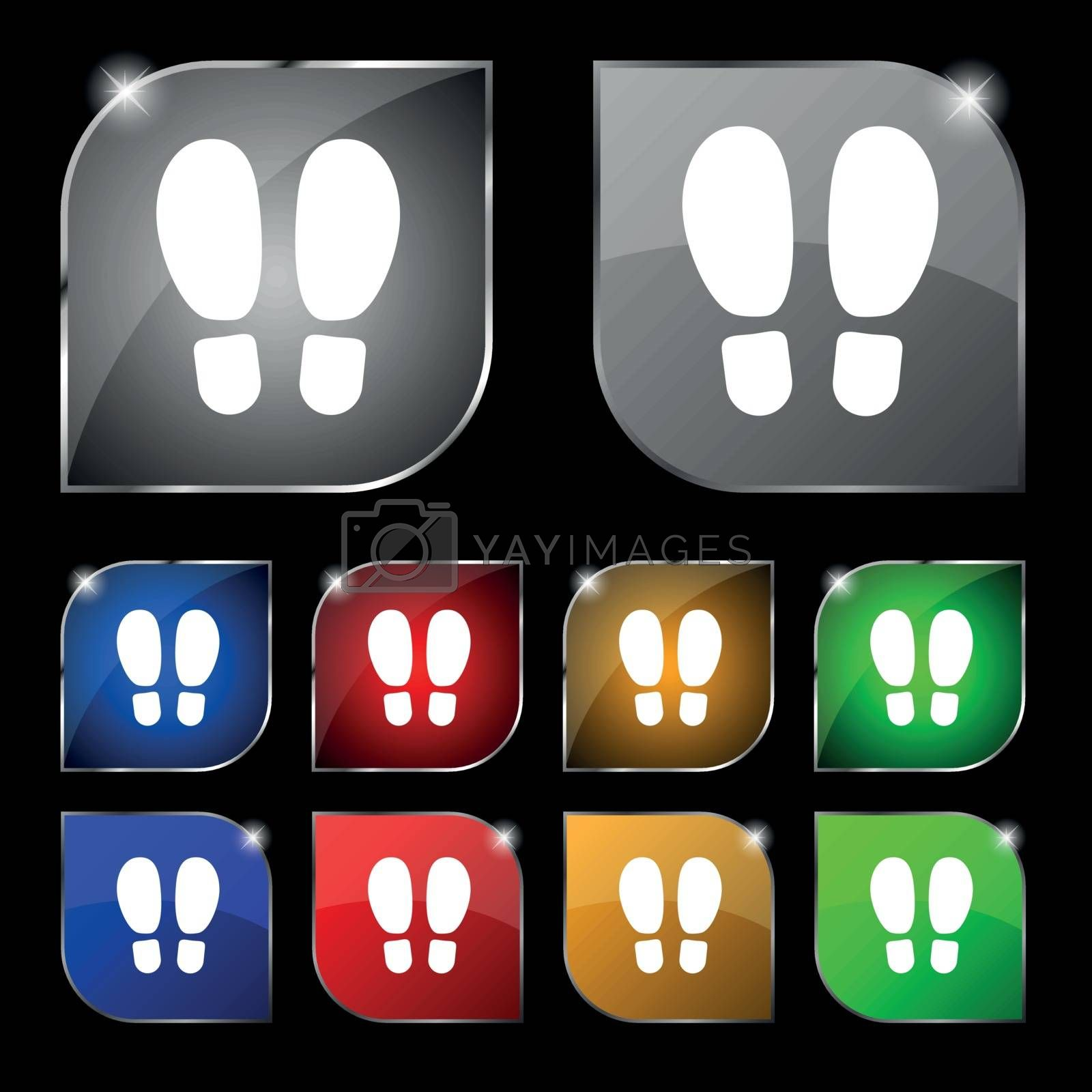 Food step Icon sign. Set of ten colorful buttons with glare. Vector illustration sign. Set of ten colorful buttons with glare. Vector illustration