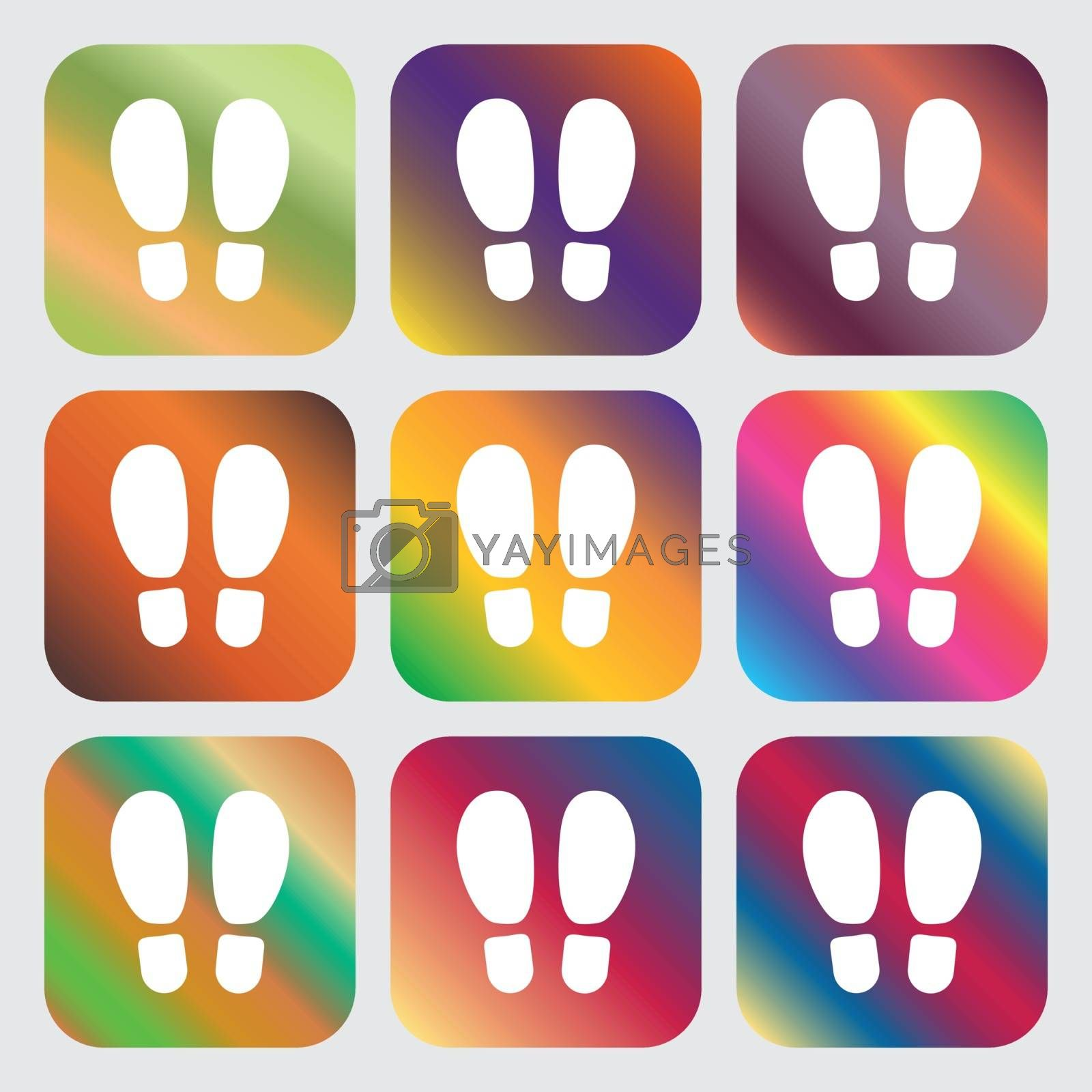 Food step Icon . Nine buttons with bright gradients for beautiful design. Vector illustration