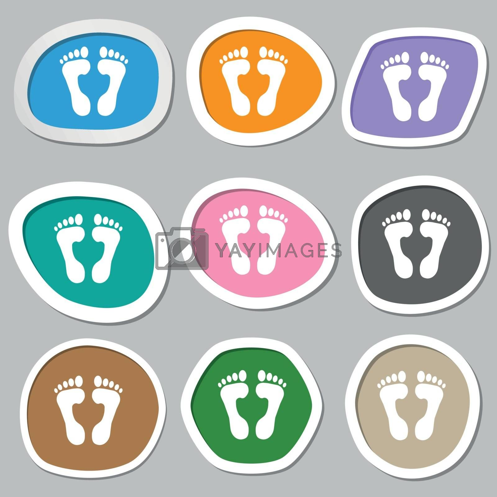 Food step Icon symbols. Multicolored paper stickers. Vector illustration