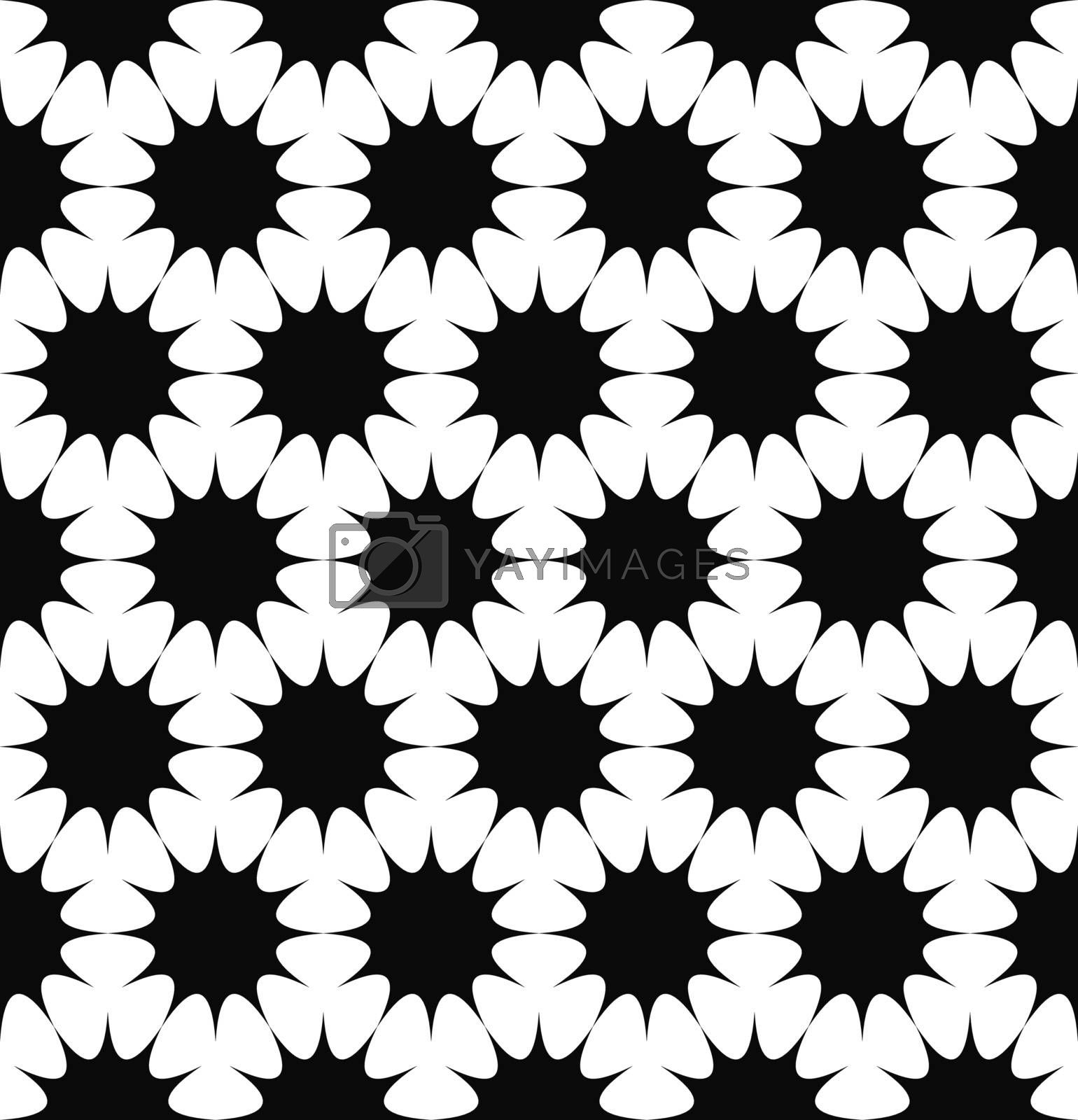 Repeating monochrome hexagonal vector star pattern design background