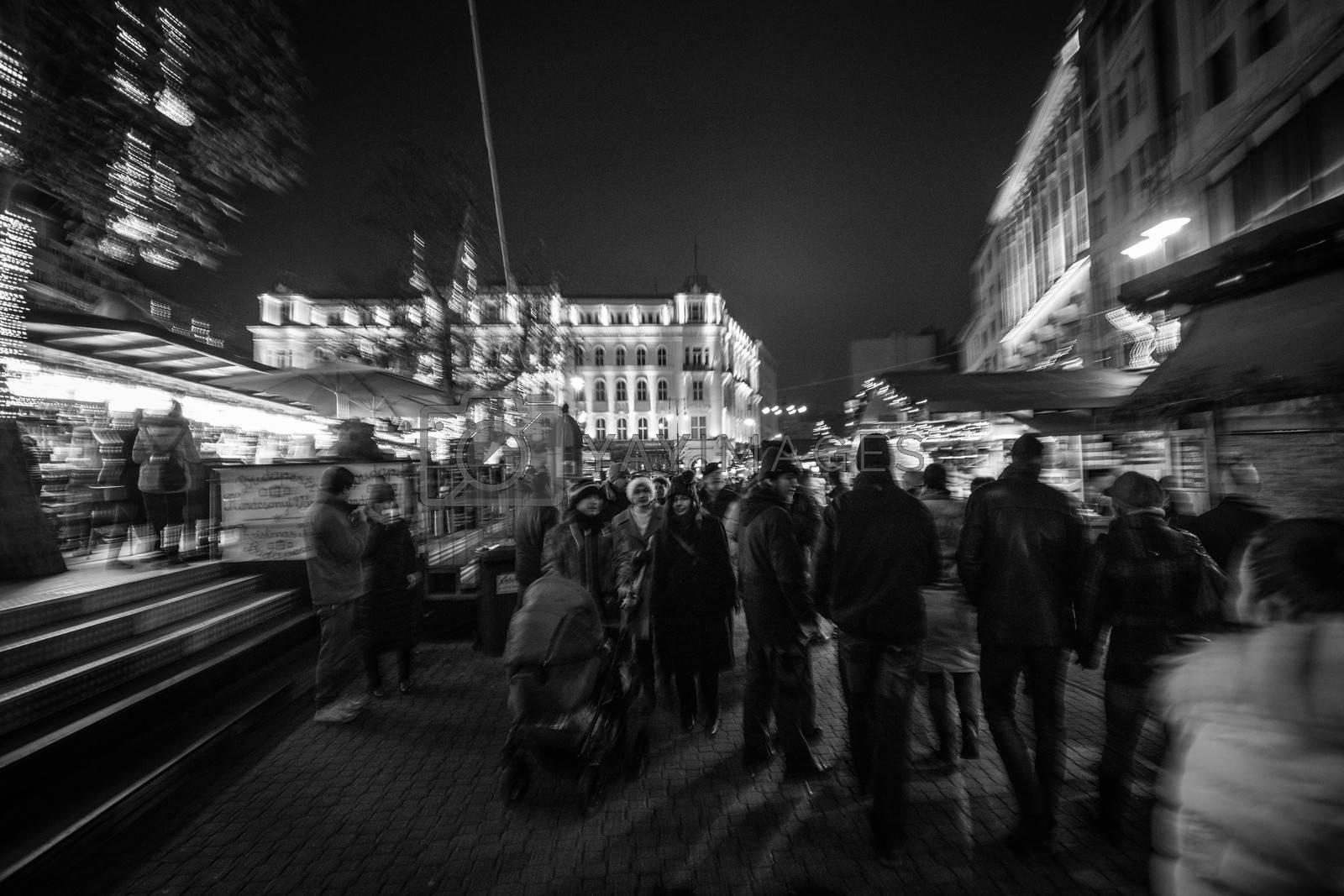 Christmas Market at the Vörösmarty Tér in Budapest, Hungary