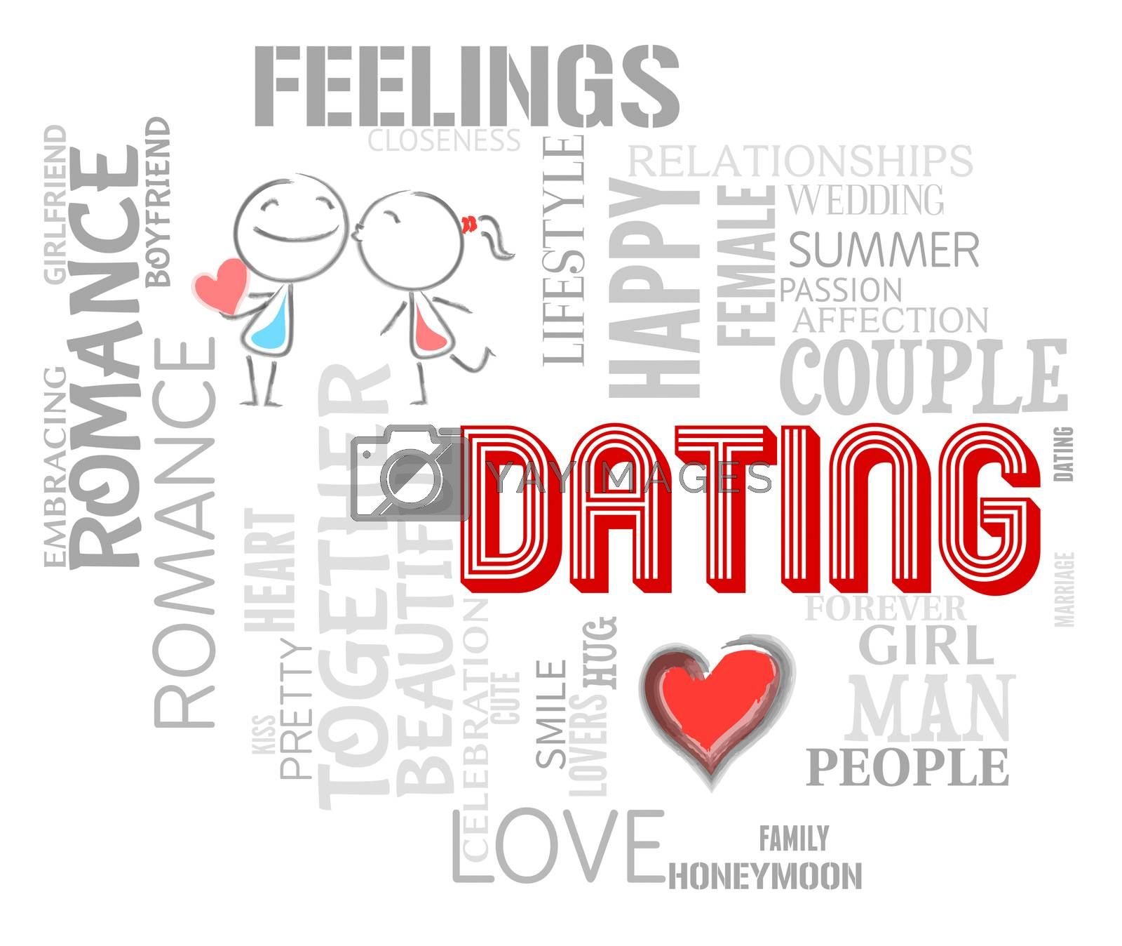 Dating Word Showing Find Love And Romance