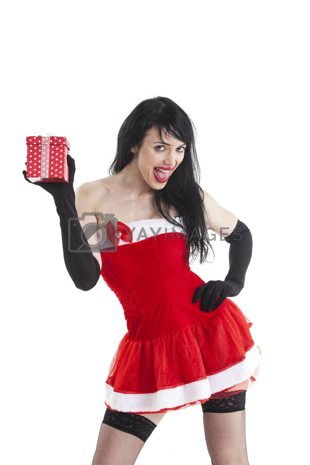 attractive santa woman with a gift