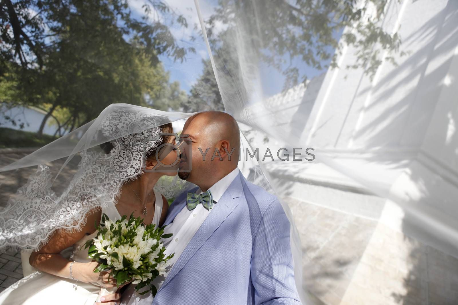 The groom and the bride kiss having closed by a veil
