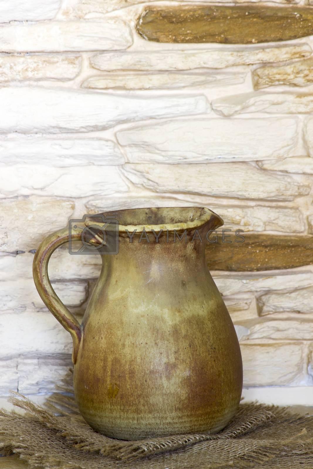 Clay jug, old ceramic vase
