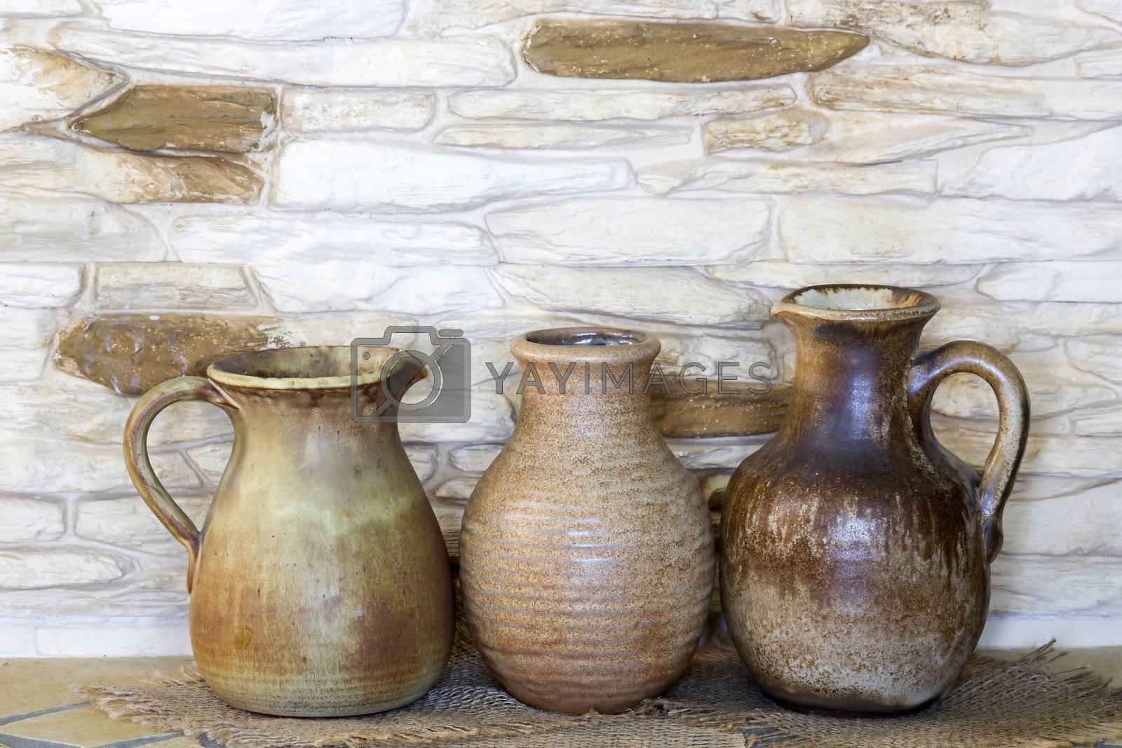 Clay jugs, old ceramic vases