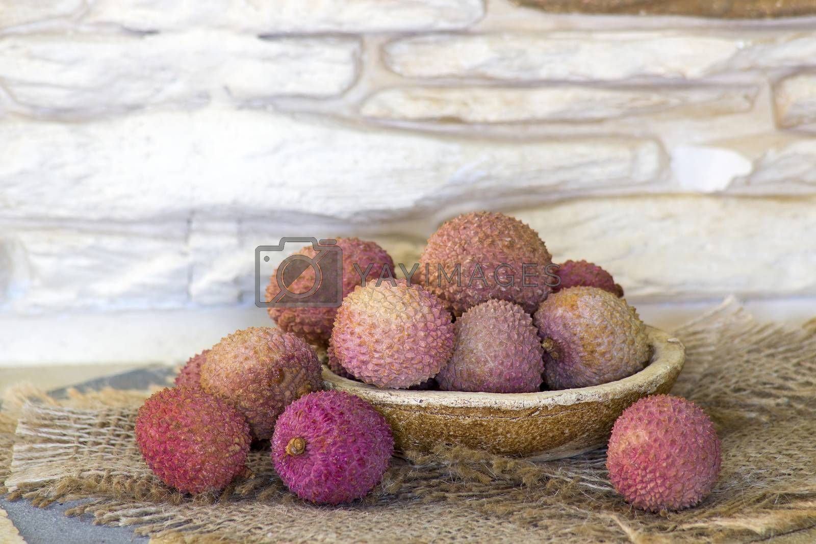 fresh lychees on a plate