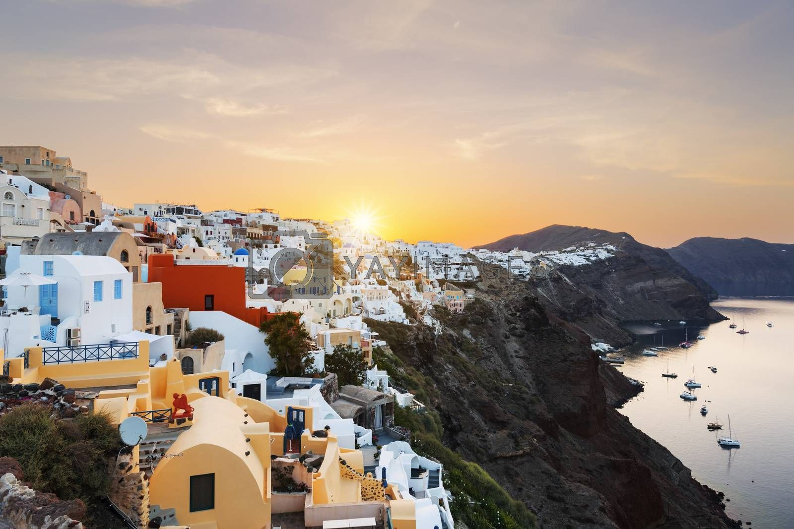 View of Oia at sunrise, Santorini