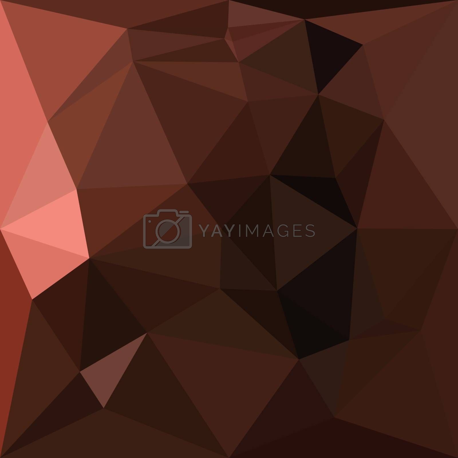 Low polygon style illustration of a saddle brown abstract geometric background.