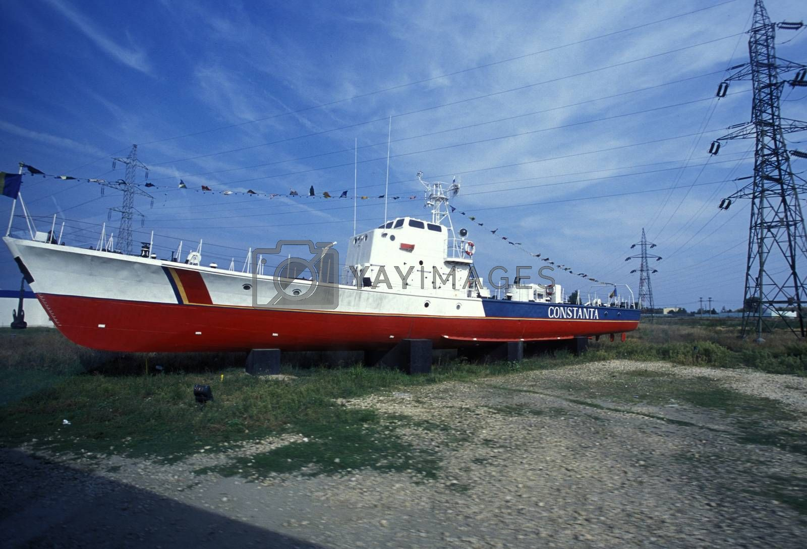 a ship at the beach in the city of constanta on the Black sea in Romania in east europe.
