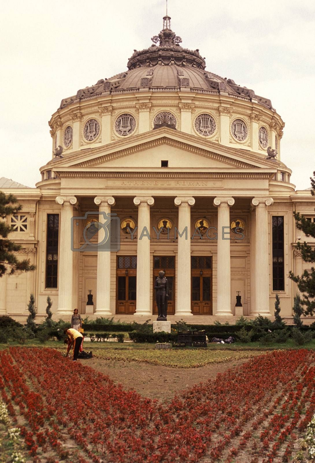the Romanian Athenaeum in the city of Bucharest in Romania in east europe.