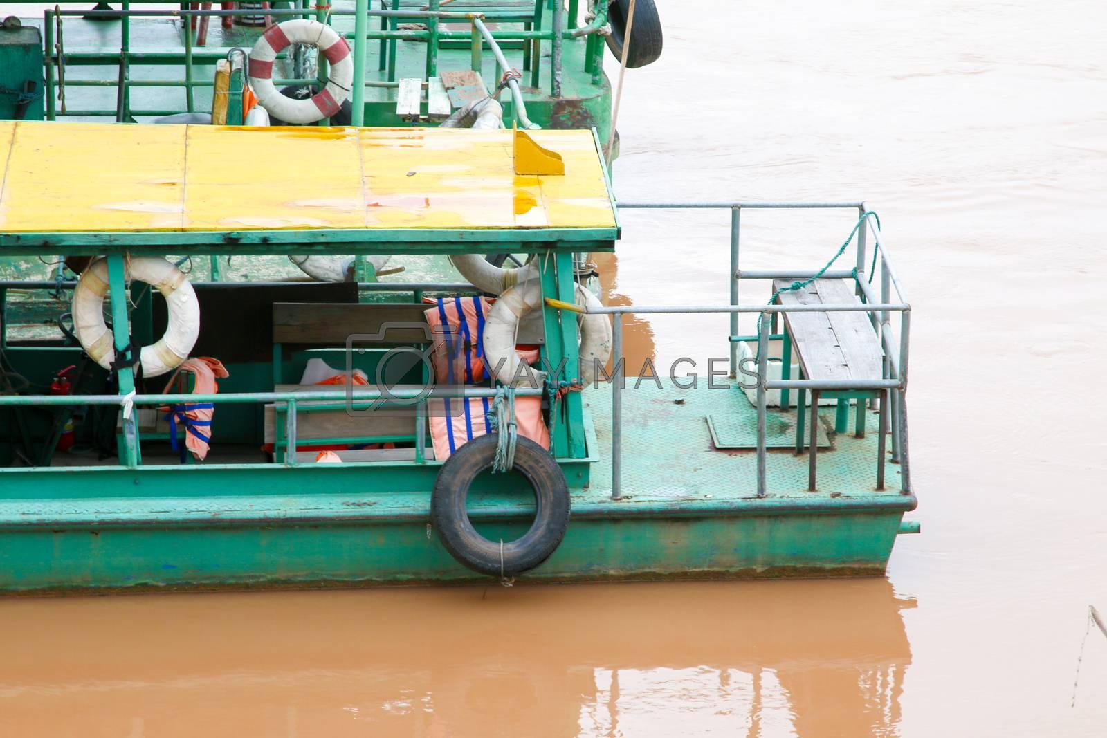 Boat across the Mekong River, Thailand - Laos.