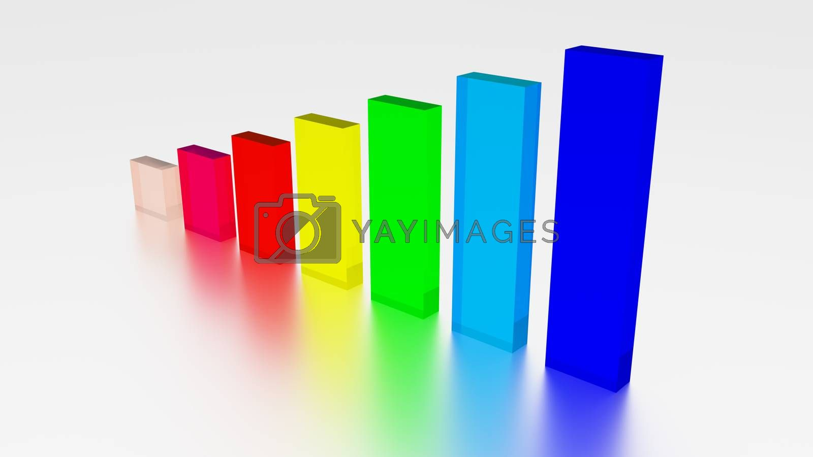 Colorful Growing Bars 3d Render Matte