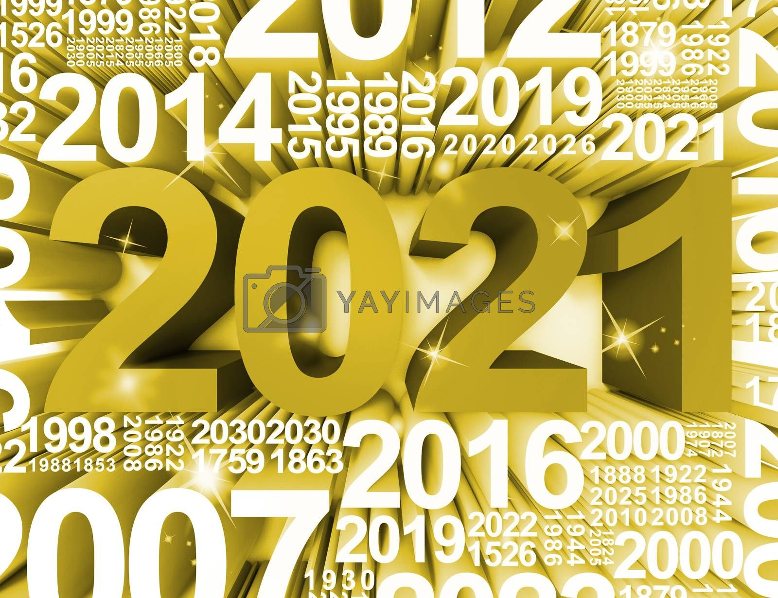 Two Thousand Twenty One New Year Symbol Or 2021 3d Rendering