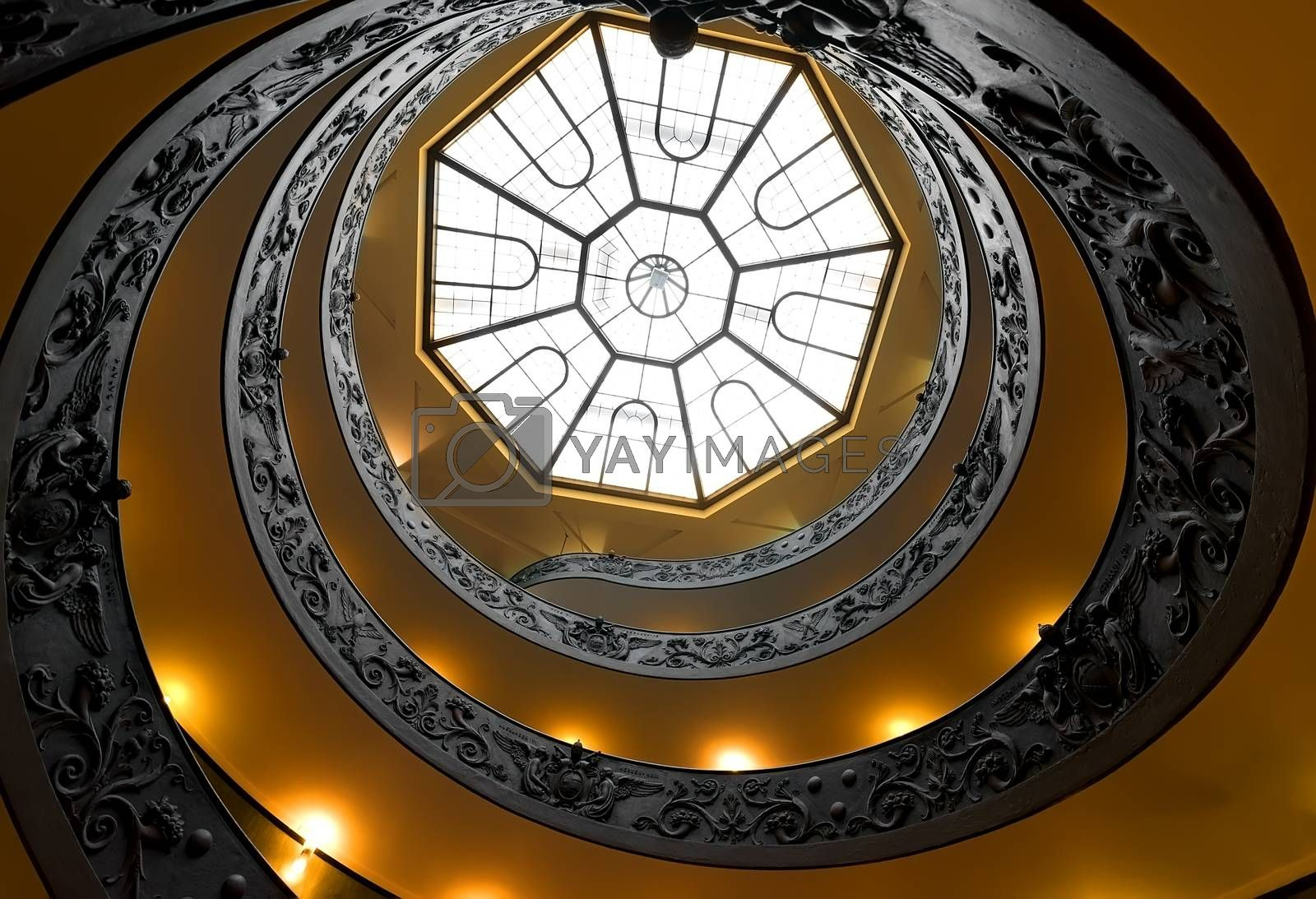 Ornate round steps in Vatican museum, bottom view. Vatican on August 19, 2016 in Rome, Italy
