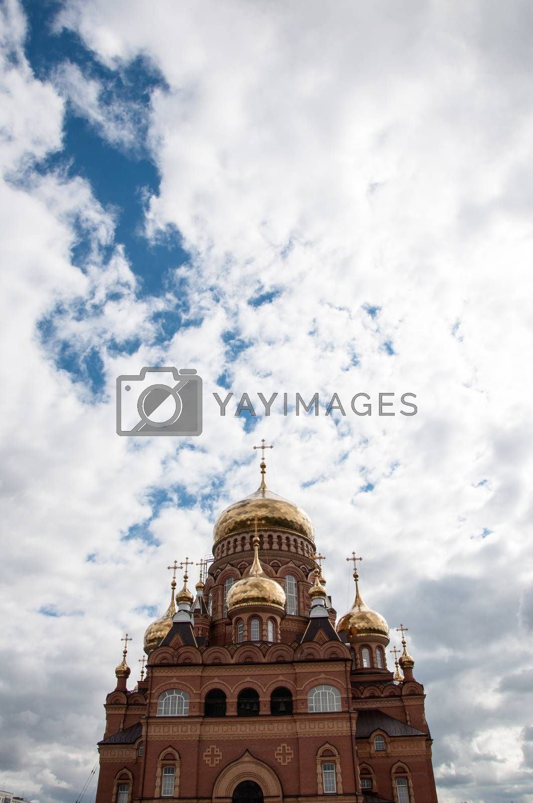 The dome of the Christian Church built on a natural border between Europe and Asia in Orenburg