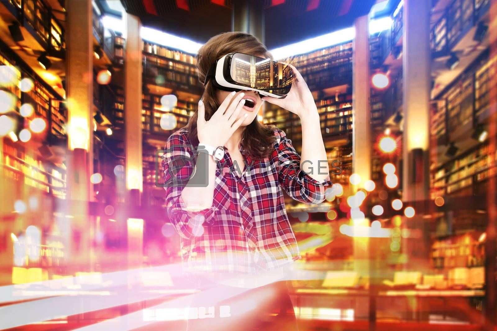 Double exposure, young girl getting experience VR headset, is using augmented reality glasses, being in a virtual actuality. In the library