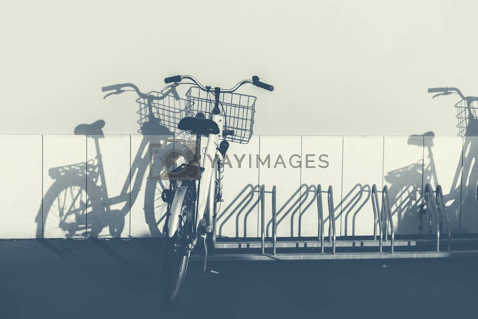 Bicycles and shadows, monochromatic image