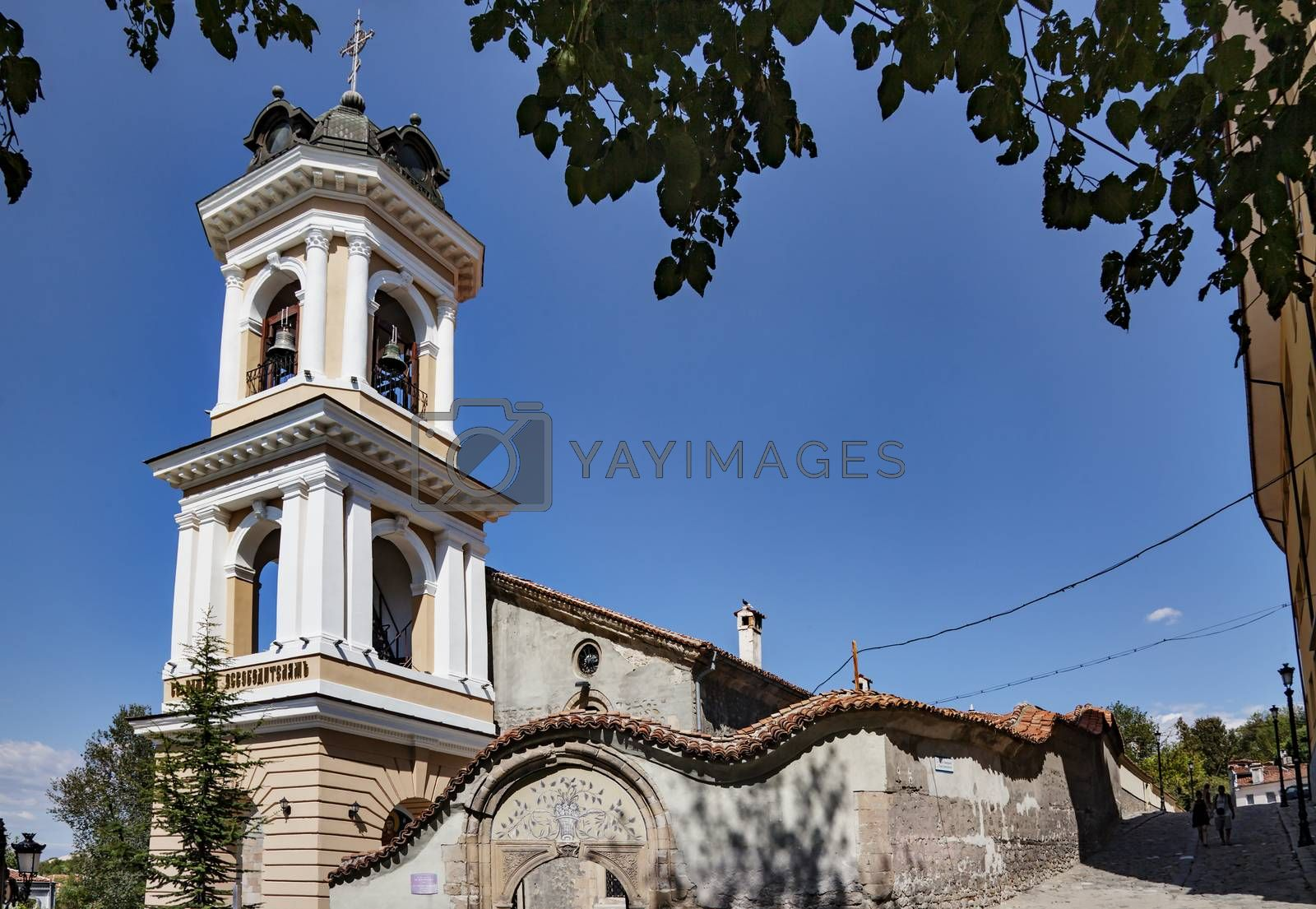 A sunny summer day view of st. The virgin Mary church in Plovdivs old town, Bulgaria, Europe. Horizontal image.
