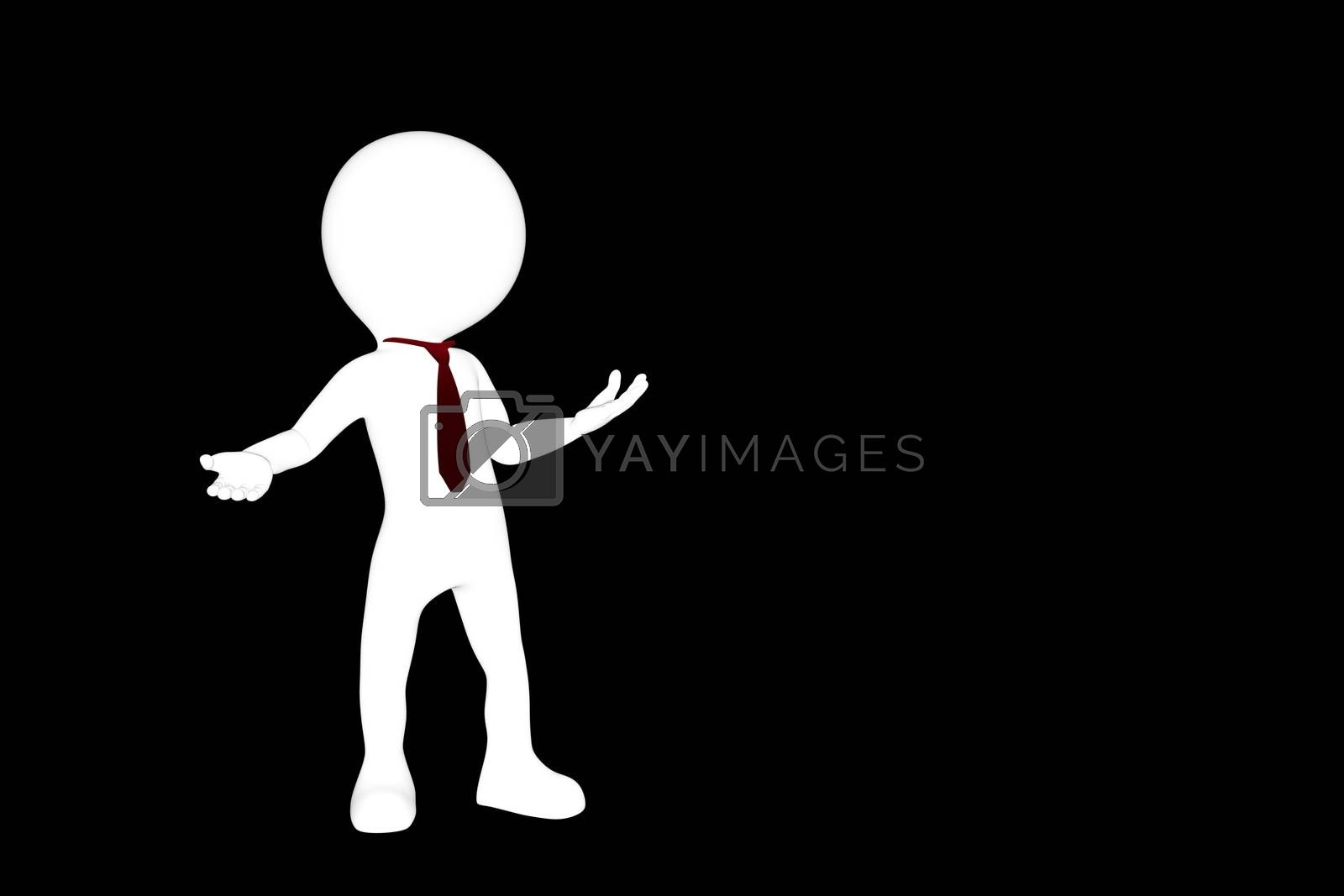 3d illustration of a man silhouette isolated on black background