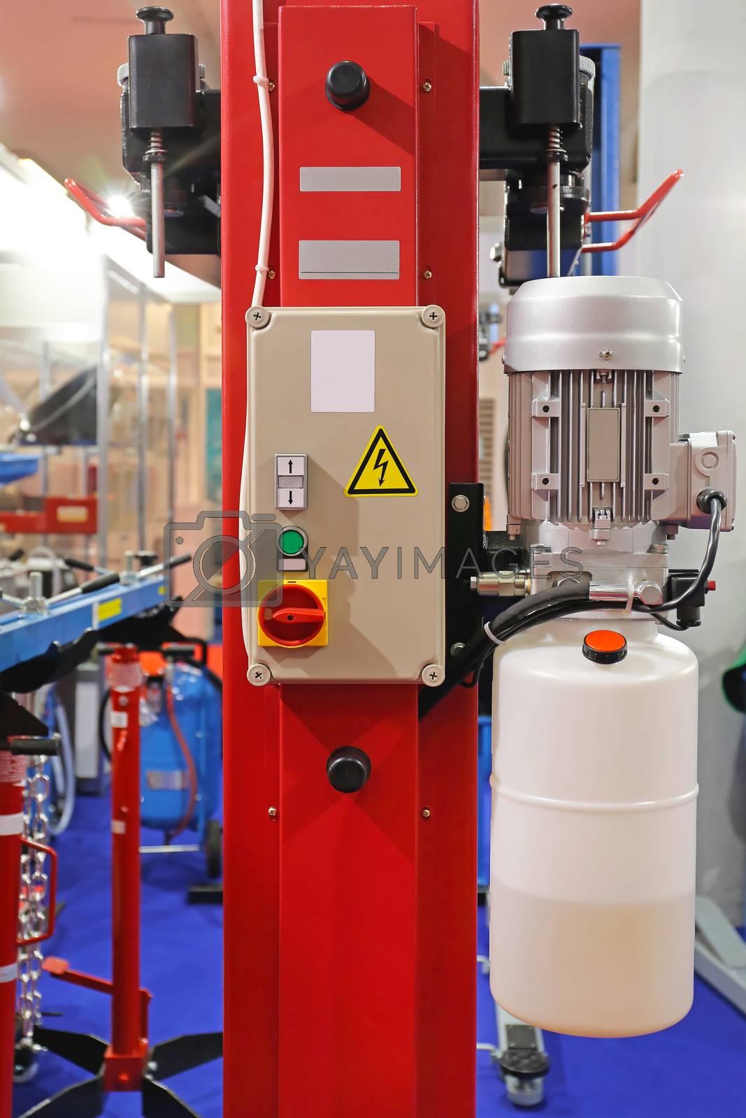 Car Lift Equipment in Service Garage