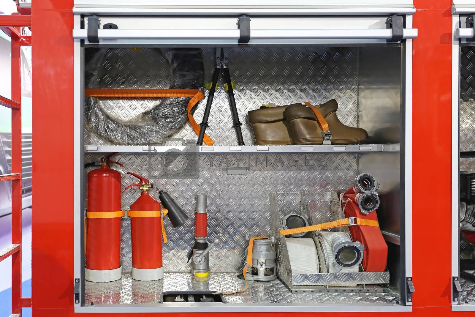 Equipment and Tools in Fire Engine Cabinets