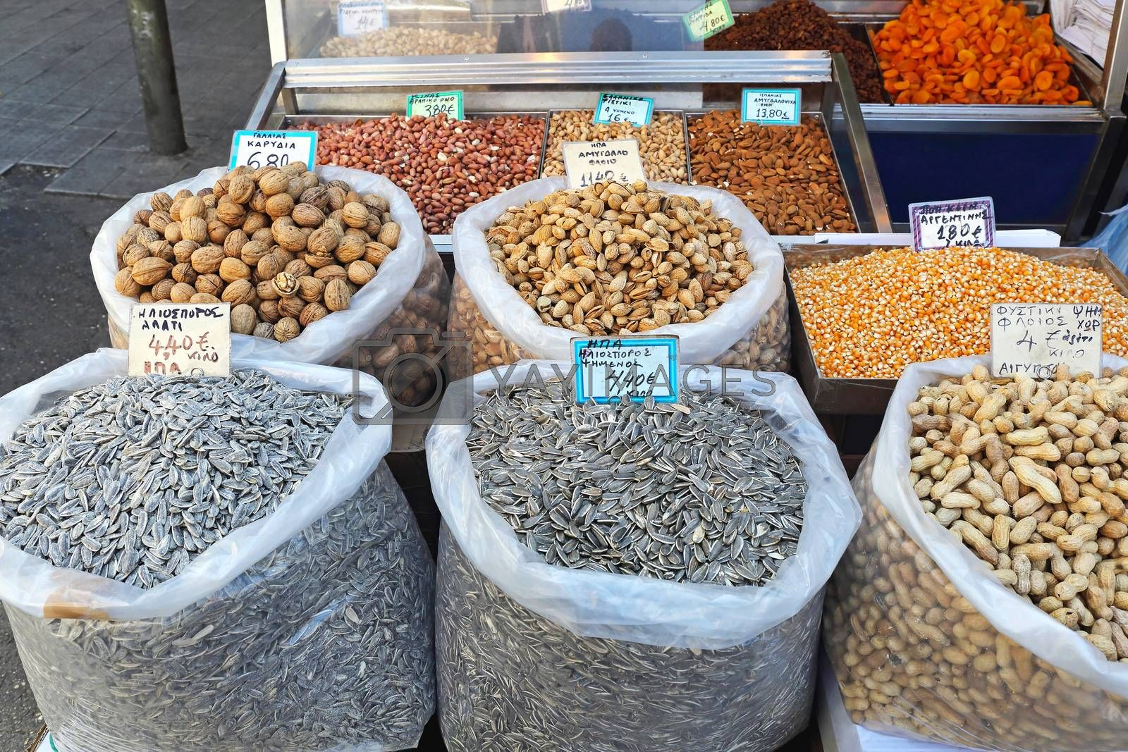 Seeds and Nuts in Bulk Sacks at Farmers Market