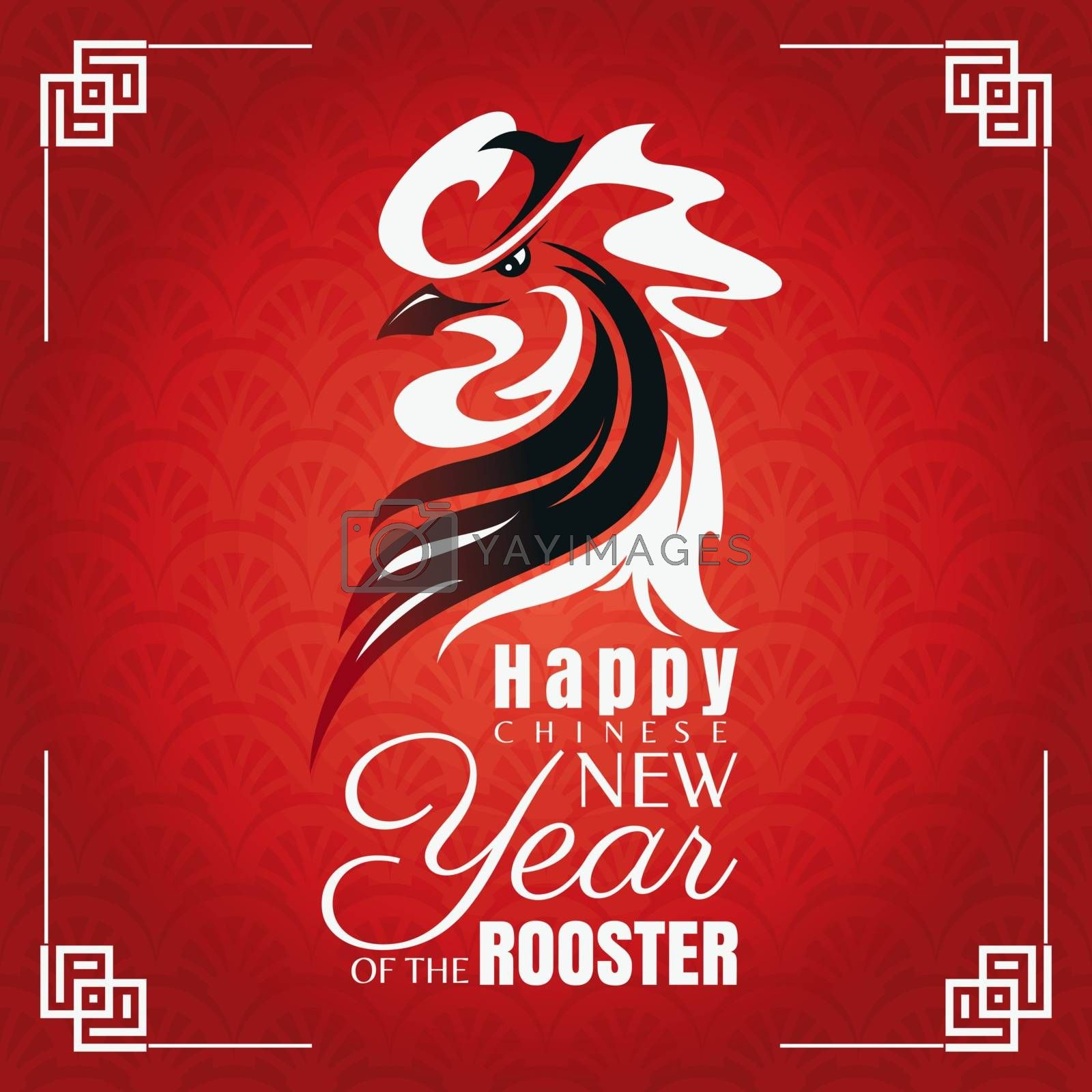 Chinese new year greeting card with rooster. Vector illustration