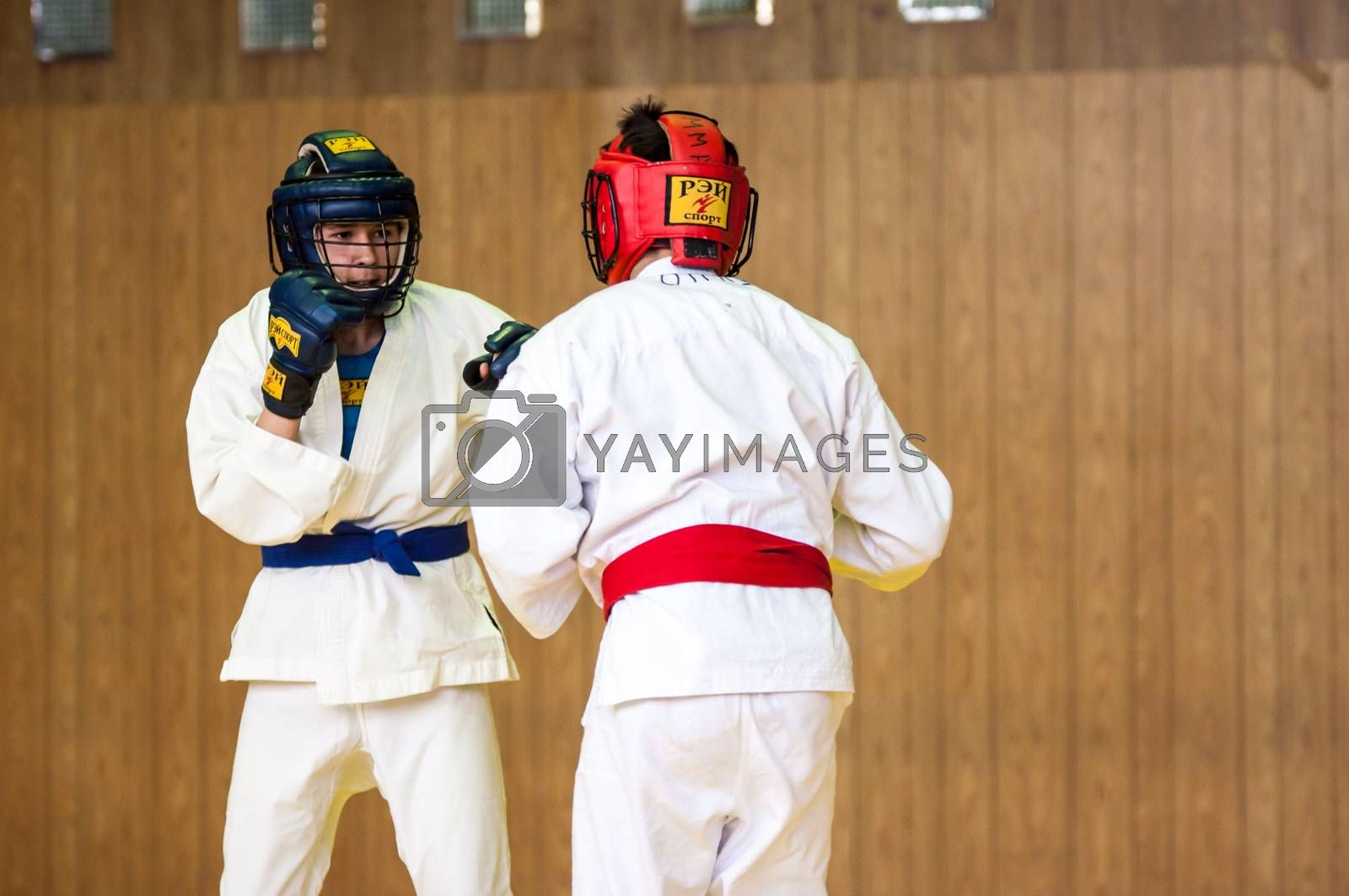 Orenburg, Russia - 14 May 2016: The boys compete for the cup of the city of Orenburg in hand-to-hand fight