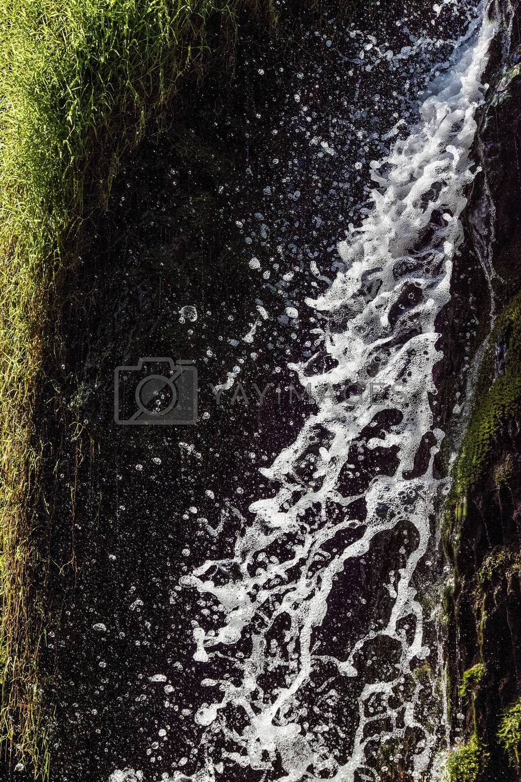 Fresh sparkling water falling over green moss of a beautiful waterfall. Vertical image.