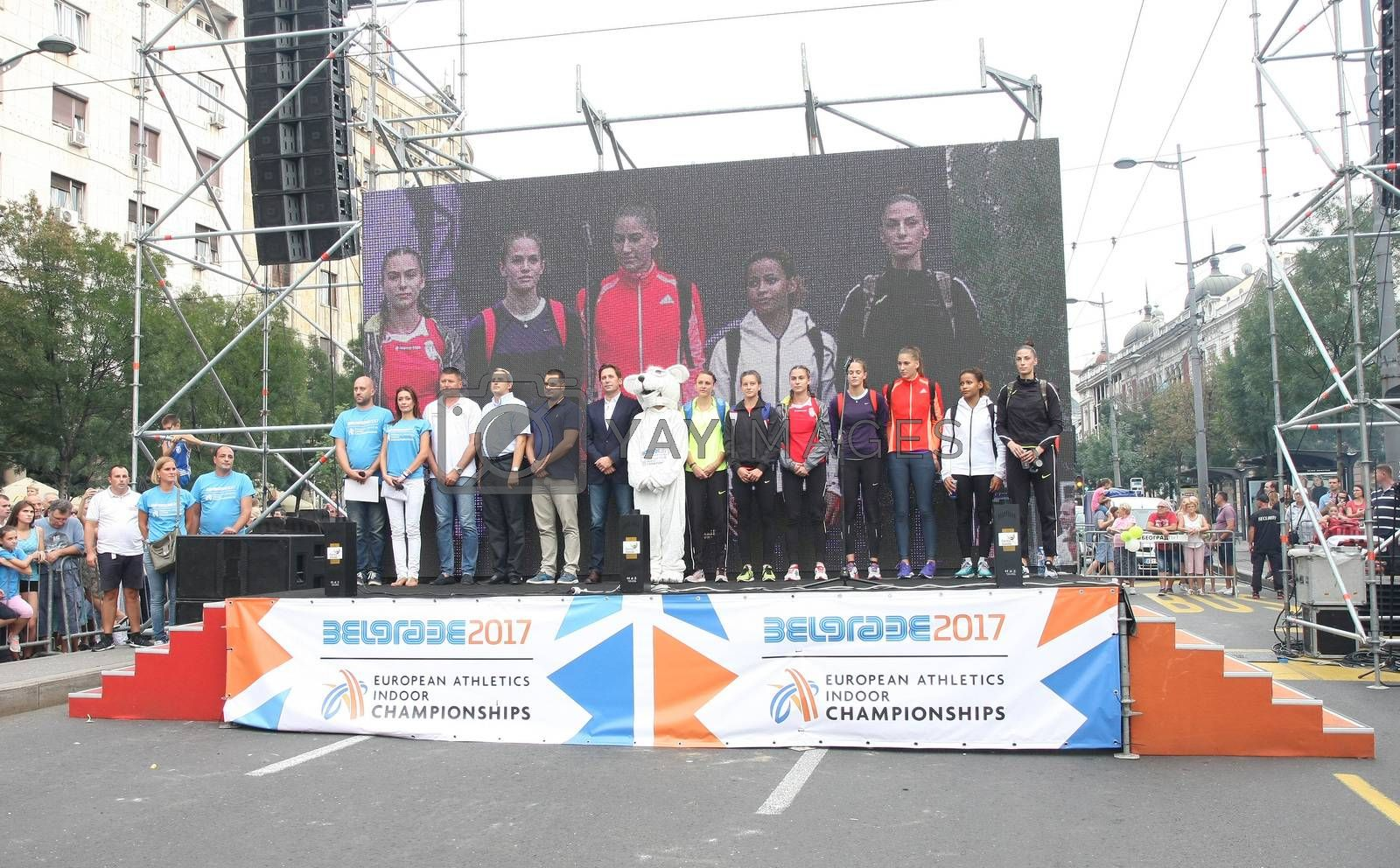 BELGRADE,SERBIA - SEPTEMBER 11 , 2016:Long jump athletes Ivana Spanovic,Jazmin Sawyers,Erica Jarder,Paola Borovic,Antonia Radic,Marija Milutinovic and Sara Lukic on the stage before long jump competition as promotion of European athletics indoors championship which will be held from 3-5.March ,2017 in Belgrade,Serbia
