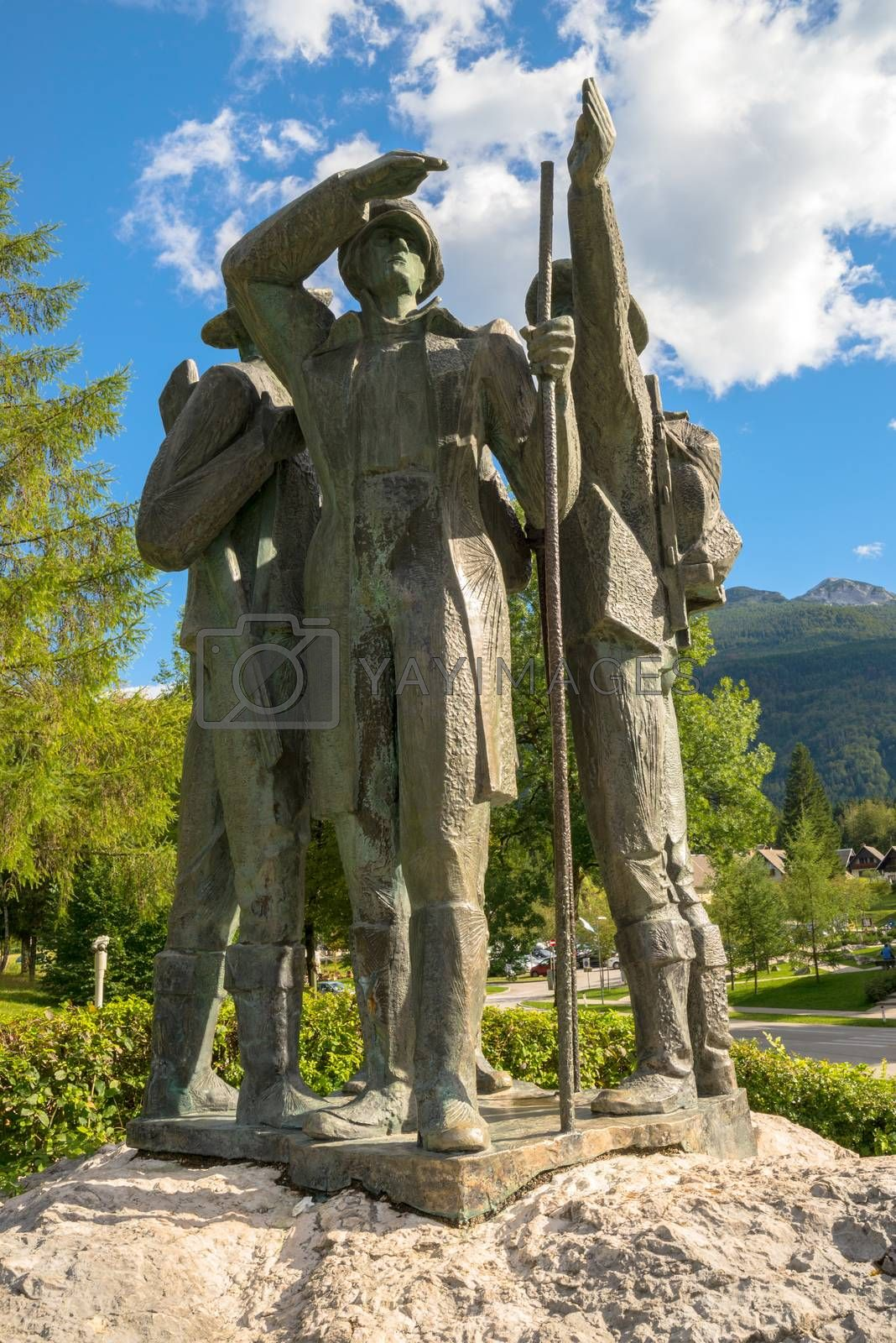 RIBCEV LAZ, SLOVENIA - AUGUST 22, 2016: Four brave men from Bohinj - the first men on Triglav. Statue of Bohinj natives that climbed highest mountain in Slovenia on August 26th in 1778.