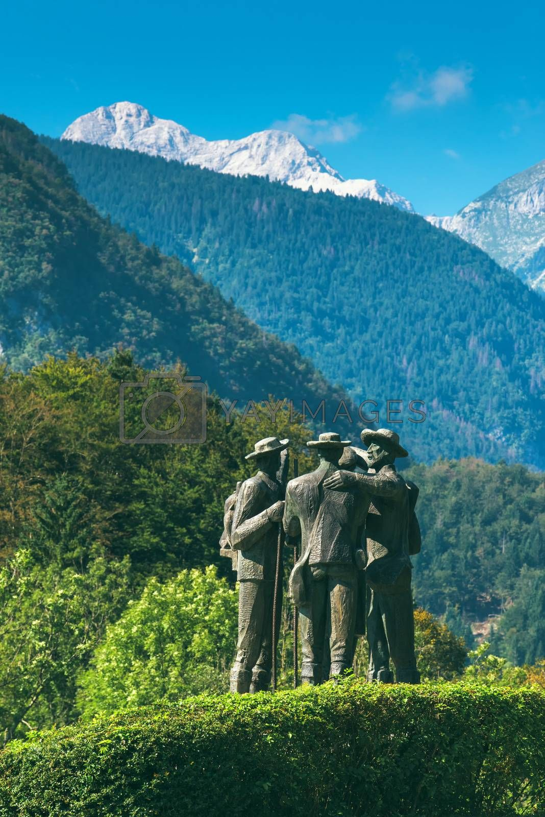 RIBCEV LAZ, SLOVENIA - AUGUST 25, 2016: Four brave men from Bohinj - the first men on Triglav. Statue of Bohinj natives that climbed highest mountain in Slovenia on August 26th in 1778.