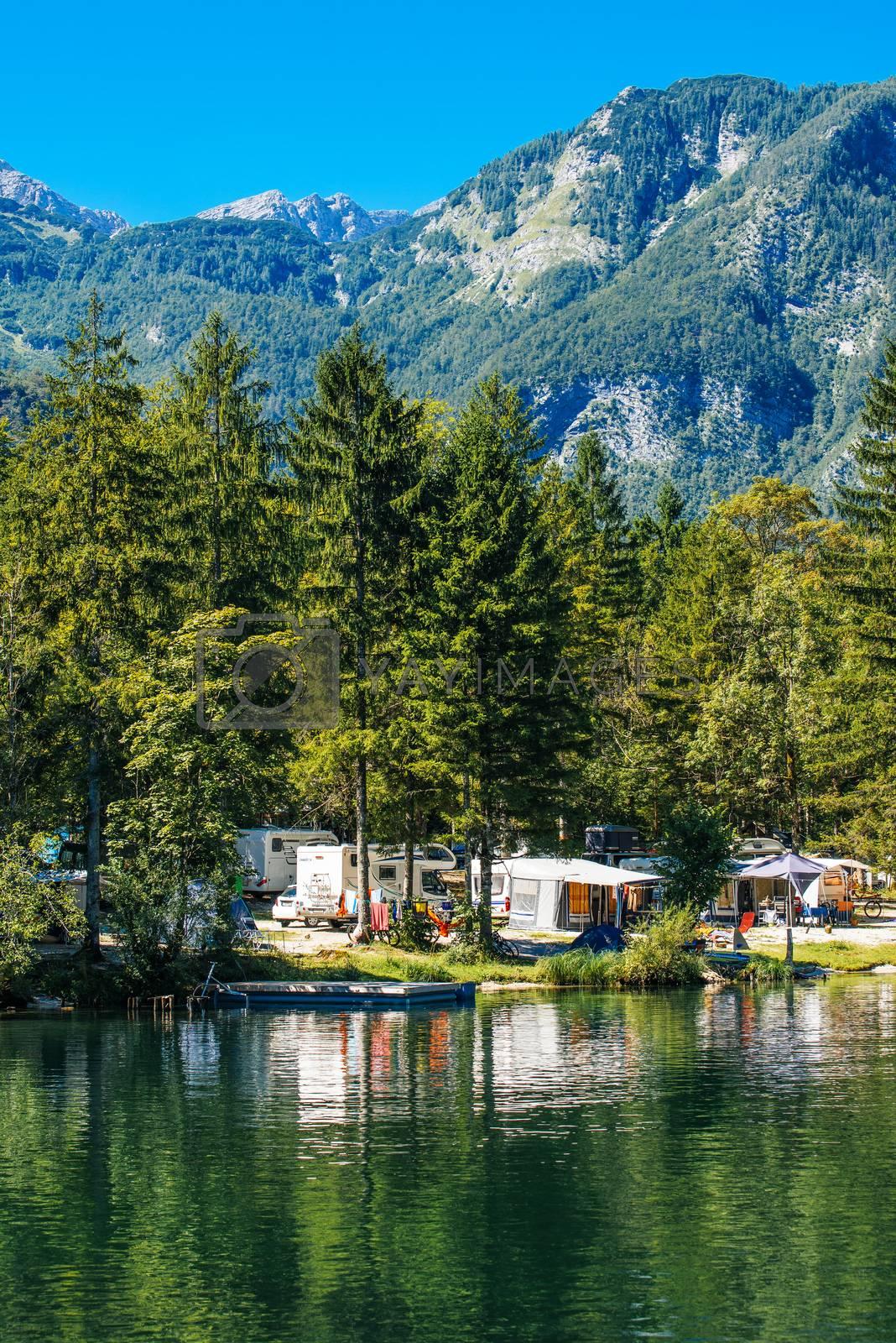 Ukanc camping site on Bohinj lake, Slovenia by stevanovicigor