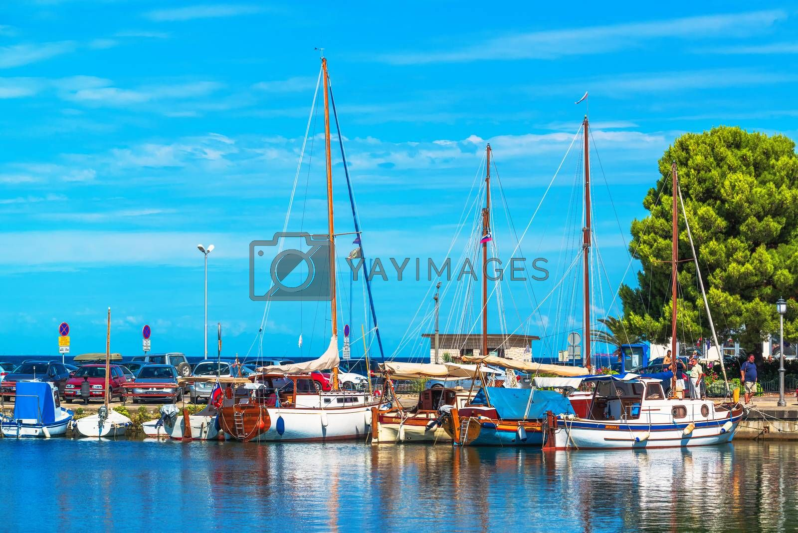 ISOLA, SLOVENIA - AUGUST 30, 2016: Boats in the Isola marina on bright summer day