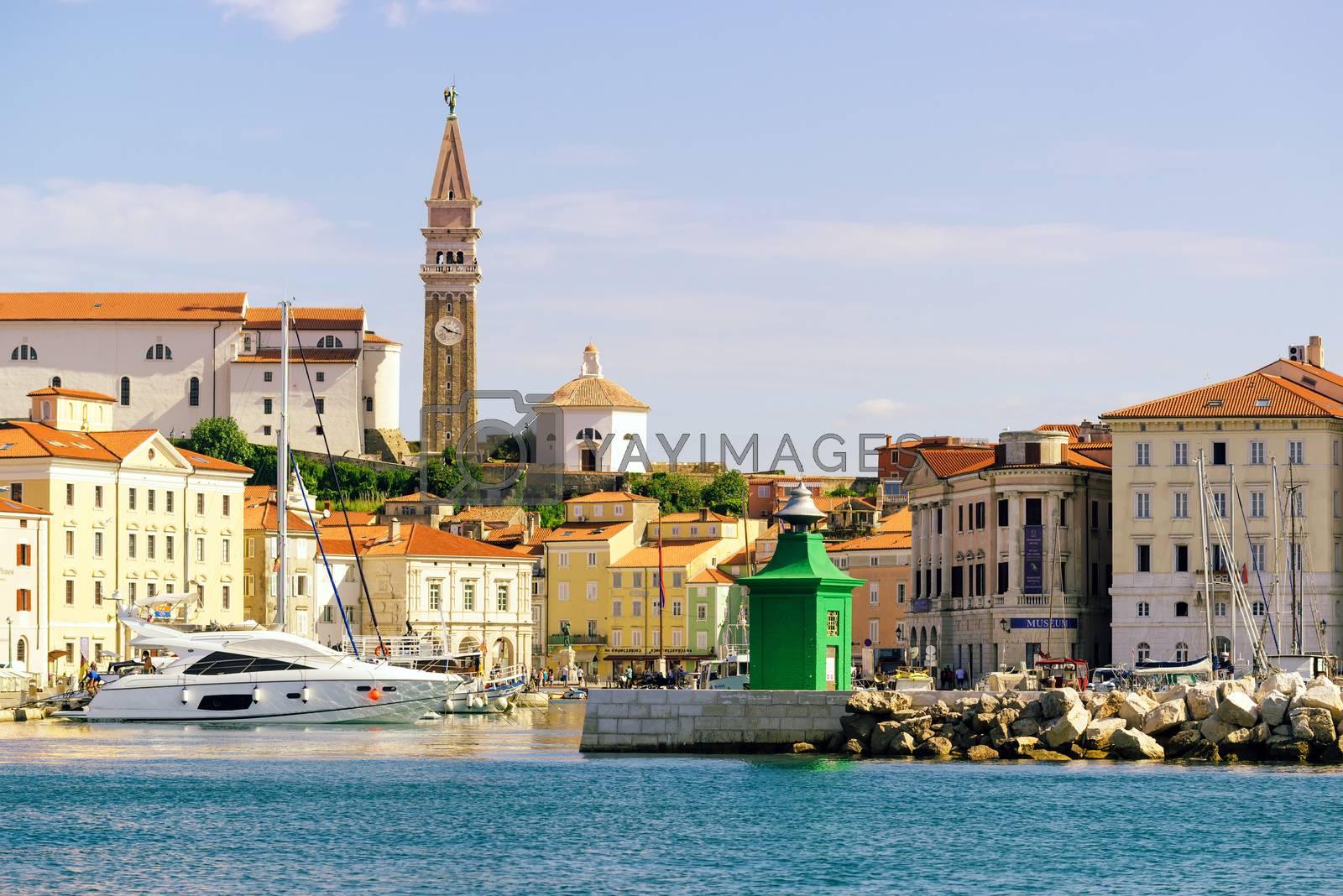 Piran marina with fishing boats by stevanovicigor